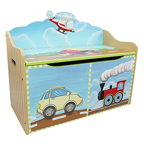 Fantasy Fields - Transportation themed Kids Wooden Toy Chest Toy Box with Safety Hinges | Hand Crafted & Hand Painted Toybox Toy Storage Unit | Child Friendly Water-based Paint
