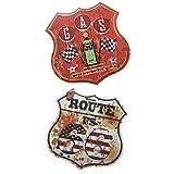 joyMerit 2 Piezas Vintage Retro Escudo Forma Carteles De Chapa De Metal Cartel Placa Motel Garaje Comedor Pub Café Cerveza Hamburguesa Ruta 66 Placa Decoración