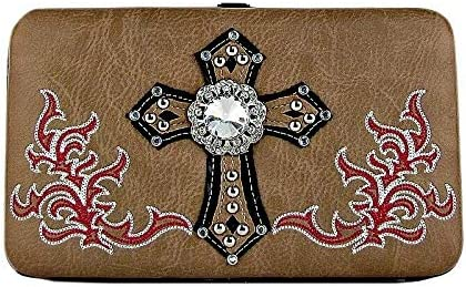 TAN Western Stitch Cross Bling Look Flat Thick Wallet Bags and Wallets for You!