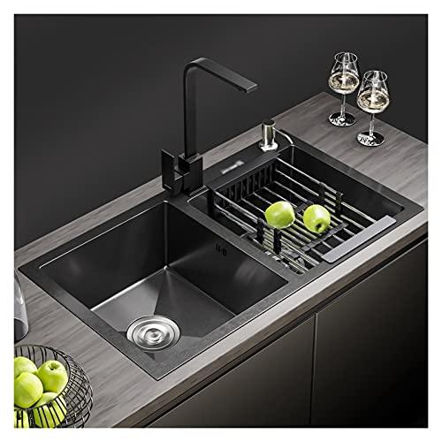 Diskbänk Mångsidig kökshandfat, svart dubbelskål Rostfritt stål Nano Tvättbänk med kran och tillbehör, 29,5 x 16 x 8 tum Workstation Sink (Size : 7541K)