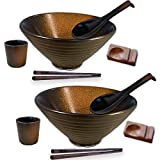 BETTER LIVIN 10 Pc Glazed Ceramic Ramen Bowl Set (60oz) with 2 Japanese Bowls and Spoons, 2 Wood...