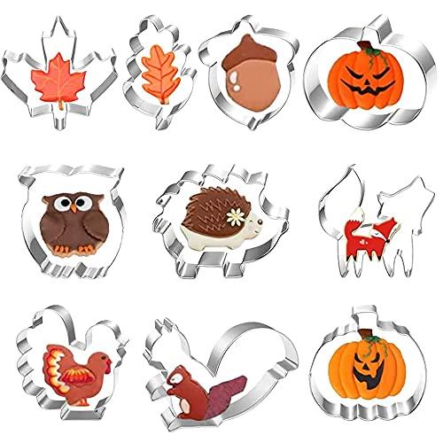 Herbst Erntedankfest Ausstechformen Set,Plätzchenformen aus Edelstahl Metall,Ausstecher Set,Ausstechformen,Keksausstecher Herbst,Edelstahl Ausstecher Kürbis(10 Stück)