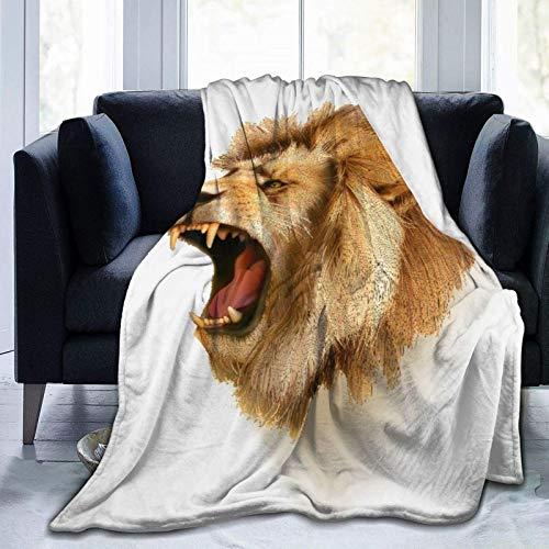 GOSMAO Kuscheldecke Decke Sofa Drape Roaring Wild Lion Head Safari Afrikanisches Tier Cartoon wie Druck Weiche Warme Fleecedecke Sofaüberwurf Decke 50'x40',W127cm X L102cm