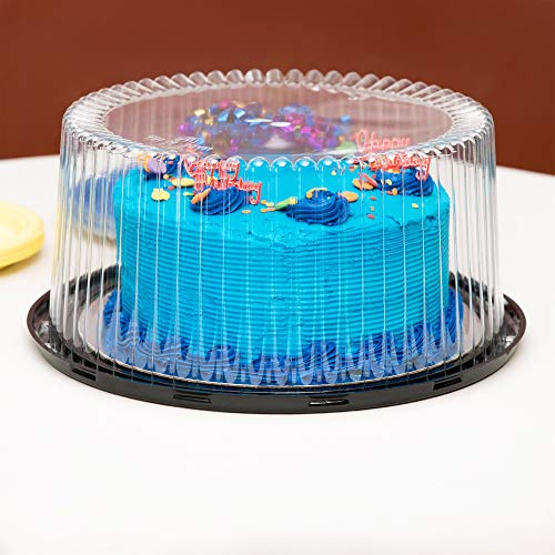 "10-11"" Plastic Disposable Cake Containers Carriers with Dome Lids and Cake Boards 