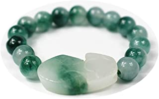 Fengshui Wealth Porsperity Jade 8mm Bead Bracelet with Pi Xiu/Pi Yao Attract Wealth and Good Luck