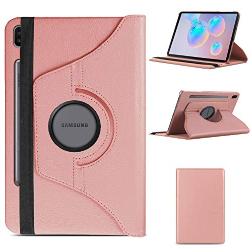 Case for Samsung Galaxy Tab S6 2019, with S Pen Support, Front support Ultra Slim Lightweight 360 Rotating Stand Strong Back Cover, for 10.5 Inch Samsung Tab S6 SM-T860/T865 - Rose Gold