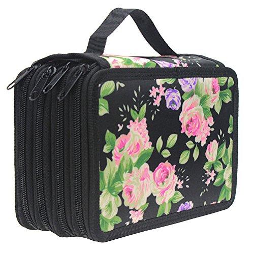 Samaz 72 Slot Pencil Case, Large Capacity Portable Colored Pencil Holder Pen Bag Pouch for Artist Student (Black)
