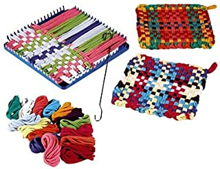 HearthSong Children's Potholder Hook and Loop Kit - Includes 115 Non Fading Cotton Loops, Loom, and Weaving Hook - Multi-Colored - DIY Arts and Crafts for Kids - 7.5'' Sq