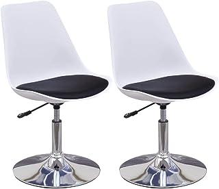 vidaXL 2X Sillas de Comedor Asiento Mobiliario Muebles Cocina Salón Sala Estar Escritorio Respaldo Decoración Giratorias Cuero Sintético Blanco Negro