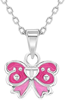 """925 Sterling Silver Pink Enamel Bow Necklace Pendant for Toddlers or Girls 16"""""""