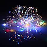 Upgraded USB LED Fairy Light Remote Control String Lights 33Ft 100 LED Waterproof Colorful Starry String Lights with 8 Lighting Modes for DIY Wedding Party Bedroom Patio