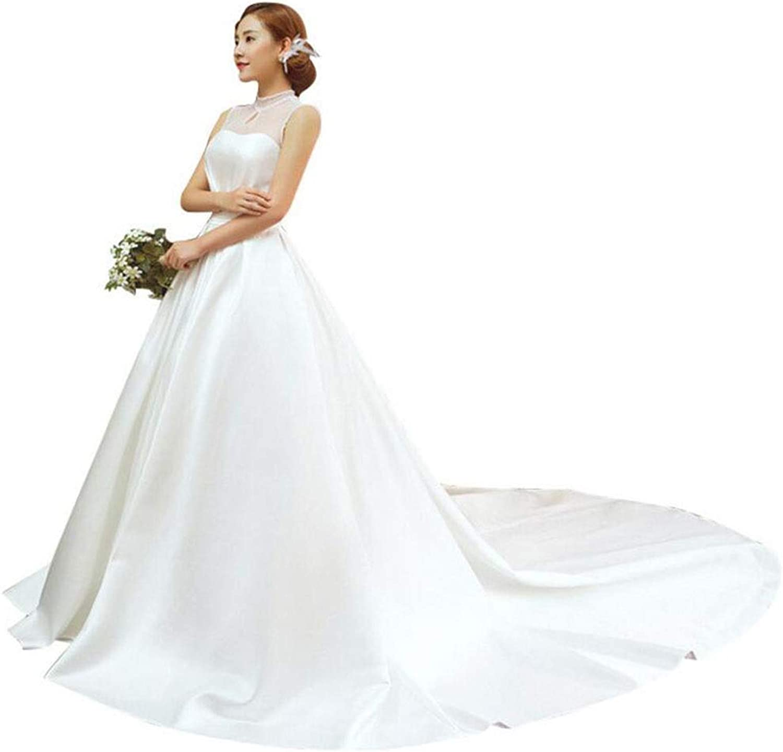 Bride Dress Wedding Wedding Tube top Small Long Tail Dress Slim Slim Wedding Dress Dream Princess Qi Wedding Dress (color   White, Size   L)