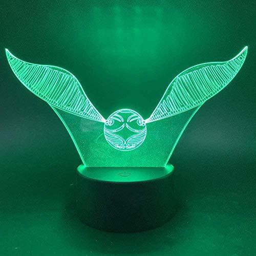 BTEVX Lámpara de ilusión 3D   Luz de noche táctil que cambia de 7 colores de la habitación del bebé Regalo para niños Snitch dorada