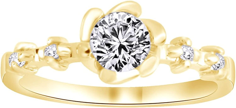 AFFY rund mit Zirkonia Verlobungsringe Silber-Ring in 18ct verGoldet Starling 1cttw
