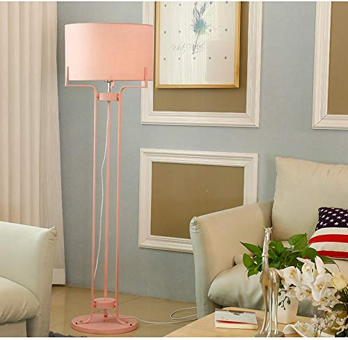 XZHU LED Modern Floor Lamps, Nordic Blue/Green/Pink/Yellow Iron Fabric Lighting Decoration Reading Plug-in Standing Lamp Creative Living Room Bedroom Floor Table Light (Color : Pink)