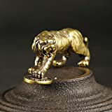 GIAO Retro latón Tigre Paso en Moneda miniaturas figuritas Adornos de Escritorio Decoraciones artesanías Accesorios Cobre sólido Animal del Zodiaco