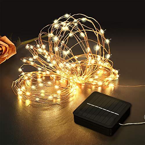 Aerb Luci Solari Esterno:15M Lucine da Esterno,150 LED con UPGRADE pannello Adatto a Decorative Per Giardino Natale Cancello Cortile Matrimonio