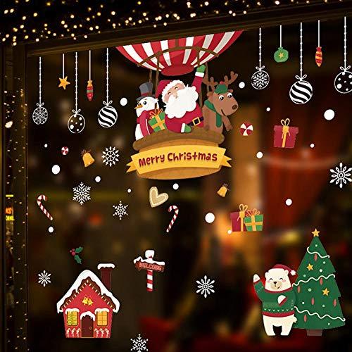 Vrolijke kerststickers sneeuwvlokken muurstickers, DIY vensterafbeelding voor winter en Kerstmis raamdecoratie, vensterglas Festival Decals Santa Murals Nieuwjaar kerstversiering, 1 stuk Hm92035