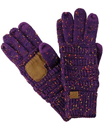 C.C Unisex Cable Knit Winter Warm Anti-Slip Touchscreen Texting Gloves, Confetti Purple