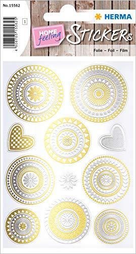 HERMA 15562 Creative Sticker Mandala Goud- en zilverfolie voor kinderen, meisjes, jongens, bruiloft, verjaardag, geschenken, fotoalbum, 11 stickers