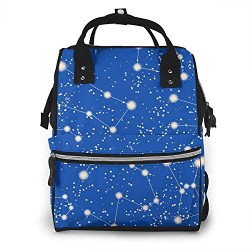 Constellation Stars Sac à dos multifonction pour maman Bleu ciel Grande capacité