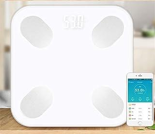 UYZ Báscula de Peso Digital Báscula de baño Bluetooth Báscula de Peso electrónica Báscula Digital de Grasa Inteligente Índice Corporal Duradero (Color: Blanco)