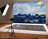 Paisaje de 15 x 10 pies telón de fondo de vinilo, colinas bajo el cielo nublado de hadas con el reflejo de la luna, paisaje vívido, para bebé, cumpleaños, boda, estudio, fotografía.