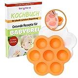 Babybrei Behälter zur Aufbewahrung und zum Einfrieren von Babynahrung - Baby Gefrierschalen + KOSTENLOSES E-BOOK (Orange)