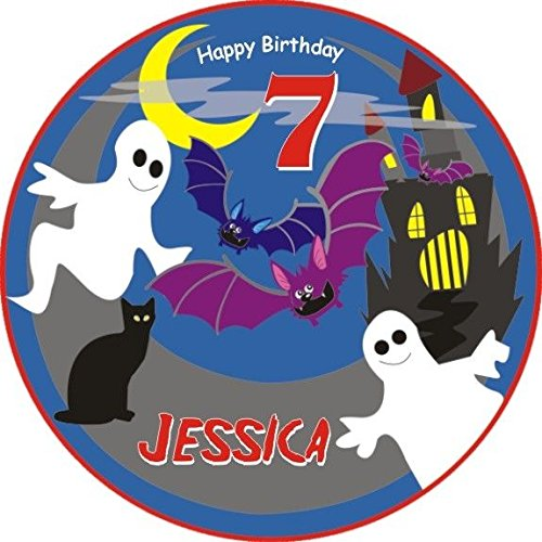 Runde Kuchenauflage für Ihre Gespensterparty zum Kindergeburtstag, essbarer Tortenaufleger für Mottoparty Gespenster, Geister oder eine Gruselparty zu Halloween +Name +Alter vom Geburtstagskind, mit Tortenbeschriftung: HAPPY BIRTHDAY