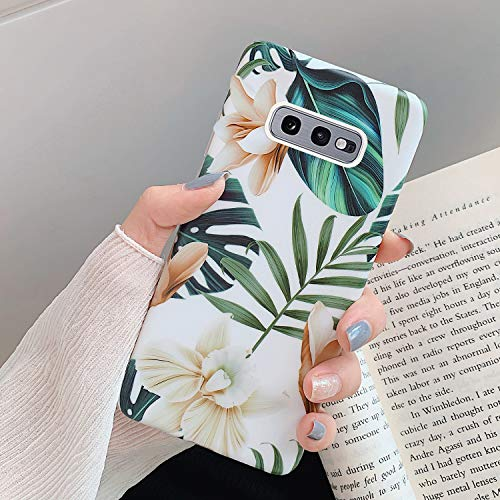 Coque Galaxy S10e,Etui Galaxy S10e Silicone Housse Téléphone Couverture TPU Feuilles bananier fleurs motif peint Ultra Mince Crystal Clear Flex Soft S