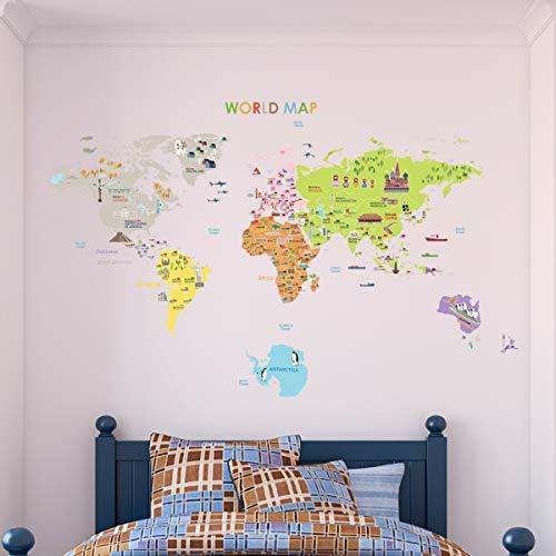 Carte Géant Mondial sticker mural pour les enfants 120 x 150cm