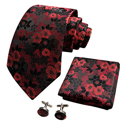 CANGRON Uomo Cravatta Fiore Rosso Set Cravatta con Fazzoletto da Tasca Gemelli Confezione Regalo DLSH8SH