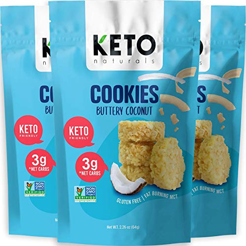 Keto Cookies Faster Fat Burn MCT - (Buttery Coconut) Low Carb Snacks food. Gluten Free Healthy Diabetic snacks Atkins Keto Friendly desserts. Zero Carb added High Fat Bomb Ketosis mini bites, Pack of 3 x 2.26oz.
