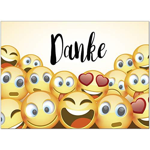 15 x Dankeskarten mit Umschlag - Emoji Emoticon gelb - Danksagungskarten, Danke sagen, nach Hochzeit, Geburt, Baby, Taufe, Geburtstag, Kommunion, Konfirmation, Jugendweihe
