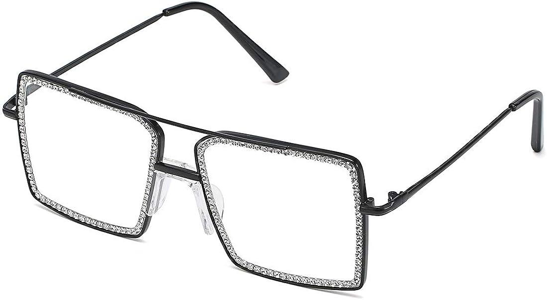 MORA ROCHI Square Diamond Rhinestone Blue Light Blocking Glasses Metal Frame Crystal Eyeglasses MR6001