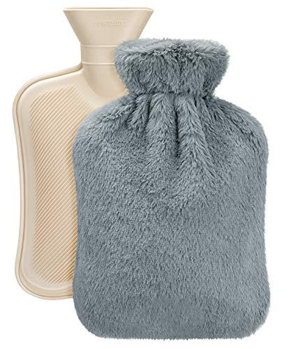 Vintoney Wärmflasche mit weichem Fleeceüberzug Bettflasche sorgt für Wärme und Komfort, ein tolles Geschenk, ideal für Mutter und Vater 2L