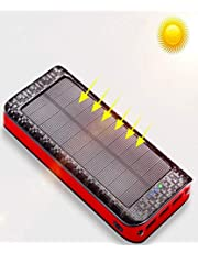 ソーラーチャージャー モバイルバッテリー 大容量 24000mah ソーラー充電器 (PSE認証済) 超大容量 充電バッテリー 携帯充電器 ソーラーパネル IPX6防水 二個LEDランプ搭載 3台同時充電 スマホ 急速充電 太陽エネルギーパネル 3出力(2.1A)と2入力(5A/2A)搭載 micro USB ポート 太陽光で充電でき iPhone / iPad / Android Galaxy Xperia 各種機種対応 地震防災 災害 旅行 アウトドアに大活躍 レッド