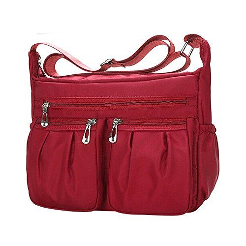 Shopper Tasche Damenmode Sunday Einfarbig Reißverschluss Wasserdichte Nylon Umhängetasche Damen Handtasche Elegant Schultertasche Premium Kunstlede (26CM, Rot-2)