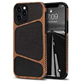 Tasikar Compatible with iPhone 12 Case/iPhone 12 Pro Case Easy Grip Wood Grain with Nylon Fabric Leather Design Hybrid Slim Case Compatible for iPhone 12 & iPhone 12 Pro