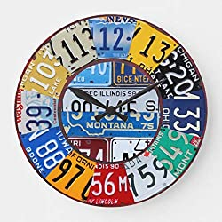 15 by 15-inch Wooden Wall Clock, License Plate Clock Vintage Numbers Car Tag Art 2 for Kitchen Bedroom Living Room Home Office Decor