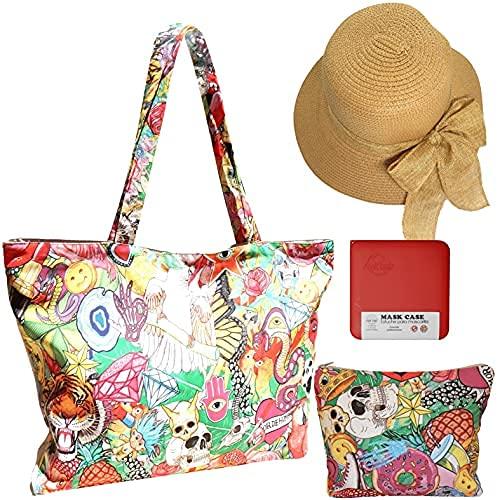 Cussi - Bolsa de Playa y Compra Grande XXL. Tote Bag de Tela Estampada (FANTASÍA) + 1 Pouch a juego y 1 Sombrero de Playa