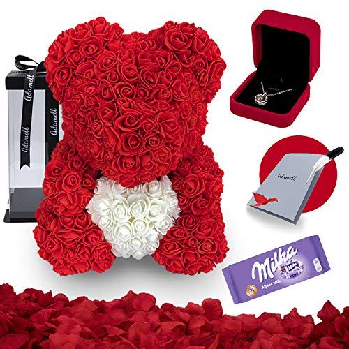 Rosen Teddybär 40cm mit geschenkbox, einzigartiges geschenk für frauen, freundin, kinder - Exklusiver Rosenbär zum Muttertag, Geburstag & Jahrestag - Blumen Teddy Bär mit love Halskette (5 in 1) Rot