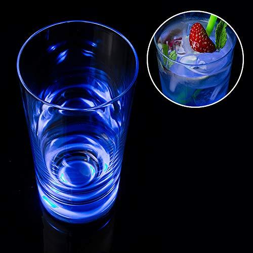 Monsterzeug Touch Leuchtglas blau, Trinkglas mit blauer LED, Trinkbecher mit Touchfunktion, Longdrinkglas leuchtet im Dunkeln, 200 Stunden Leuchtdauer, Fassungsvermögen 300 ml