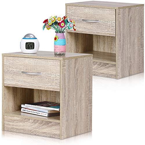 Deuba Nachttisch 2er Set Schublade mit Griff Ablagefach 41x39x28cm Holz Nachtkommode Nachtkonsole Nachtschrank - Eiche