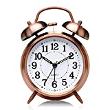 KeepBro Brass Twin Bell Table Alarm Clock with Night LED Light Display (Copper)