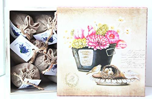 Direct Global Potpourri Lavendelsäckchen 6 x 20 Gramm, Lavendelbeutel + dekorative Box Vogelnest, Zum Entspannen und Dekorieren des Hauses, Lavendelblüten (6)