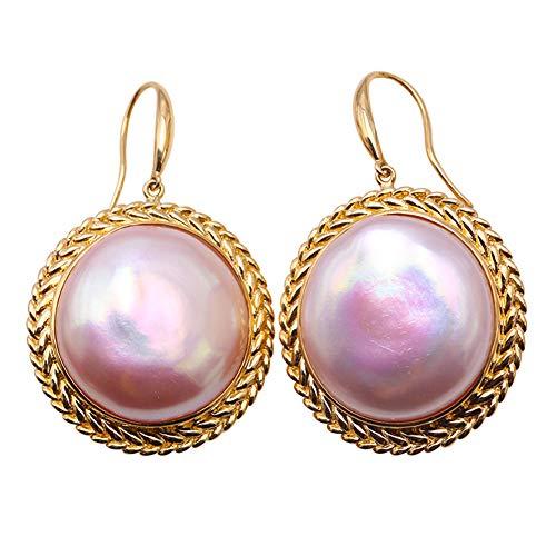 JYX Damen-Ohrringe 18 Karat Gold 19,5 mm Pink Mabe Perle