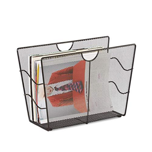 Relaxdays Zeitungsständer Mesh, Zeitschriftensammler Metall, Zeitungshalter stehend, HxBxT: 27 x 39 x 17 cm, schwarz