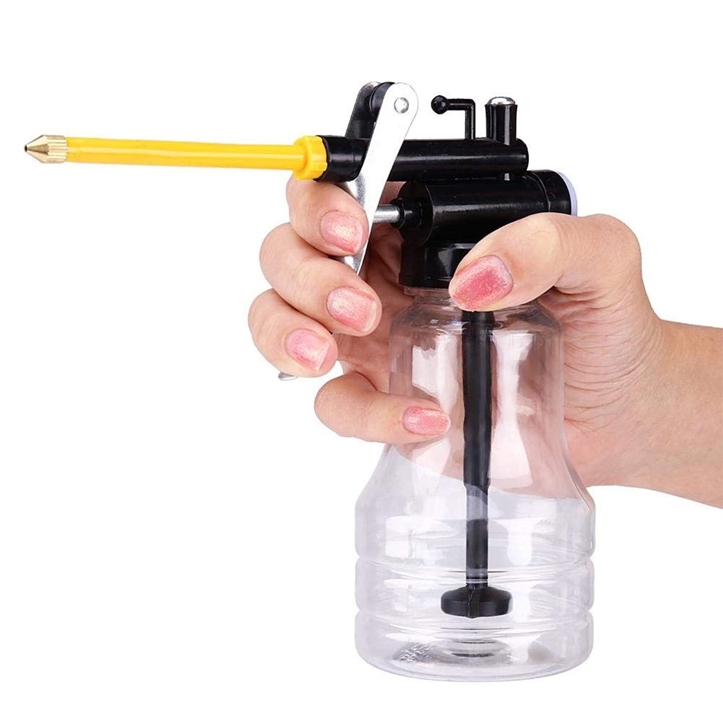 250ML Oil Can Transparent High Pressure Oiler Lubrication Oil Can Bottle Flex Manual Oiling Gun With Rigid Spout Thumb Pump Tool Oiler