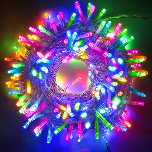 Tcamp Multi-Color Outdoor String Lights 66FT 200 LED Garland String Fairy Light 8 Mode Christmas Light Holiday Wedding Party [END to END Expandable]